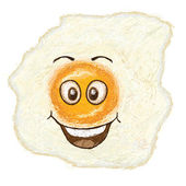 Happy fried egg cartoon character smiling