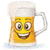 Happy mug of beer cartoon character smiling