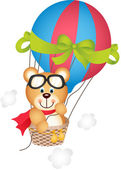 Scalable vectorial image representing a hot air balloon with teddy bear isolated on white