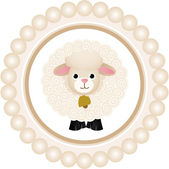 Scalable vectorial image representing a cute sheep round label isolated on white