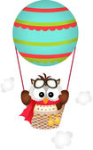 Scalable vectorial image representing a owl in a hot air balloon isolated on white