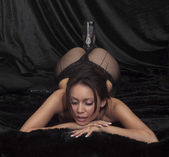 Sexy woman in fish net stockings