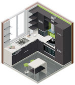 Detailed isometric cutaway icon representing modern kitchen