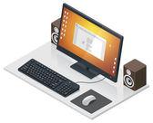 Vektorové pracoviště s počítačem a periferie