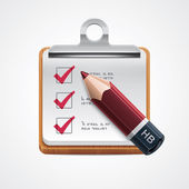 Detailed icon representing red pencil on wooden clipboard with notepad pages and filled checkboxes