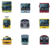 Set of the detailed icons representing urban public transport vehicles