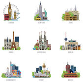 Set of the simple icons representing popular travel destinations