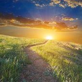日落时的山间公路
