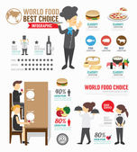 Infographic food world template design  concept vector illustration