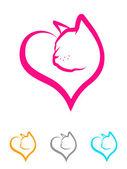 Illustration of a kitten face inside of a heart shape