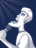 Cartoon man holding a microphone and singing in a spotlight