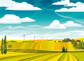 Autumn landscape with yellow meadows and wind power on a cloudy sky