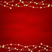 Xmas Red Retro Background With Gold Stars Garland With Gradient Mesh Vector Illustration