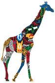 žirafa v africké etnické vzory