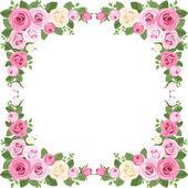 Vintage rózsák keret. vektoros illusztráció