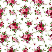 Vector seamless pattern with red and pink roses and freesia and green leaves on a white background