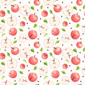 Vector seamless background with pink apples leaves and seeds