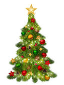 Vector decorative Christmas tree with balls cones and garland