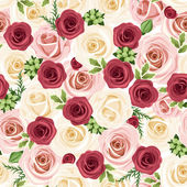 Vector seamless background with red pink and white roses and green leaves