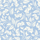 Vector seamless white floral pattern on a blue background