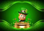 Kobold auf dem grünen Hintergrund für St. patricks day