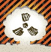 Atomi robbanás banner. a jel, a sugárzás