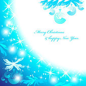 Blue christmas background with spruce branches brilliant balls stars and snowflakes Drawn by brushes