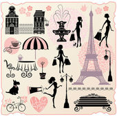 Set for fashion or retail design - Effel Tower houses heart with calligraphic text I Love Shopping girls silhouettes with shopping bags