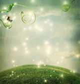 Fantasy landscape with small snail