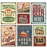 Vintage style signs - set of tin advertising retro signs and posters