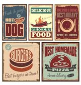 Vintage style metal signs and retro posters for hotdog pizza burgers restaurant and Mexican food