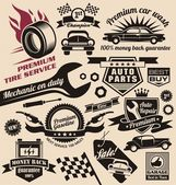 Vector set of vintage car symbols Car service and car sale retro labels and icons Vintage collection of car related signs and symbols with various design elements ribbons and emblems