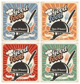 Set of retro restaurant posters Vintage food vector backgrounds with chef hat plate fork and knife Collection of meal and food old templates for restaurants