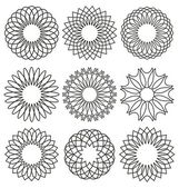 Set of rosettes Guilloche design elements Ornaments and decorative lines vector collection for currency or certificate design