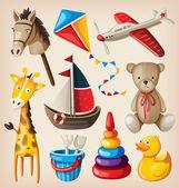Set of colorful vintage toys for kids
