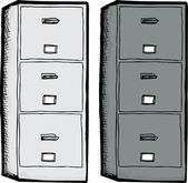 White and black filing cabinets isolated over white background