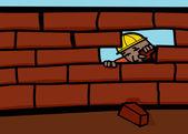Bricklayer peeking through hole in brick wall