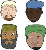 Diverse set of bearded Muslim men on white background
