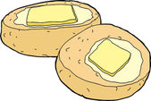 Isolated corn bread with slice of melted butter