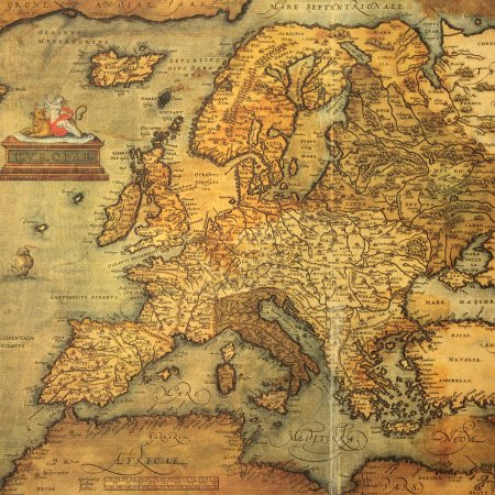 Постер, плакат: Reproduction of 16th century map of Europe engraved and colored, холст на подрамнике