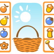 Постер, плакат: Basket and autumn set