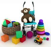 Illustrazione rendering 3D di giocattoli del bambino in un piccolo cestino e carrozzina