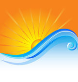Sunny beach logo template background vector design