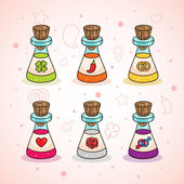 Love potions: clover - luck chili - passion ring - wedding heart - love rose - romance male and a female symbol - sex