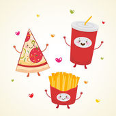 Cute fast food Pizza soda french fries
