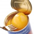 Постер, плакат: Canned peaches in syrup
