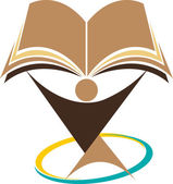 Illustration art education logo with isolated background
