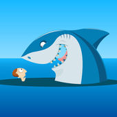 Illustration of unexpected meeting of man and shark