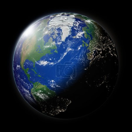 Постер, плакат: Planet Earth north, холст на подрамнике