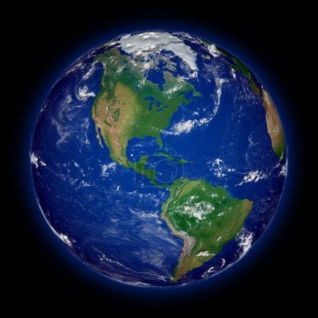 Постер, плакат: North America on planet Earth, холст на подрамнике